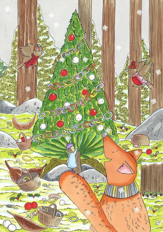 Posie Pixie and Florence Fox admiring Posie's spectacular Christmas tree!