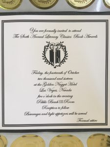 Sarah Hill's invitation to attend the Children's Literary Classics Book Awards!