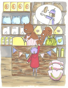 Here's Mrs Scarlet the squirrel serving Posie Pixie in The Woodland Store.