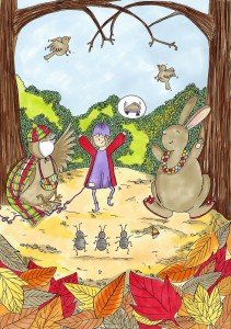 Here's 'Mrs Spottisedowne the sparrow', 'Posie Pixie' and 'Raspberry Rabbit' as they appear in book 3, 'Posie Pixie And The Torn Tunic'.