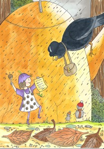 'Posie Pixie' and 'Mr Bilberry the blackbird' with Sarah's author contract!