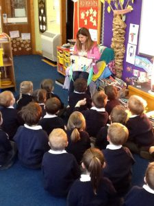Sarah talking to the Reception children during her author visit to Burbage Primary School