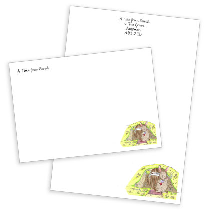 Personalised Raspberry Rabbit Stationery Set